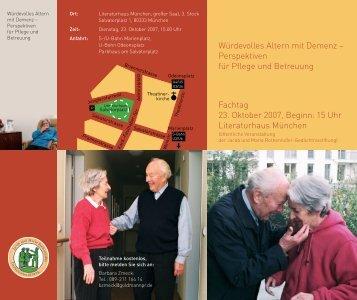 Perspektiven für Pflege und Betreuung Fachtag 23. Oktober 2007 ...