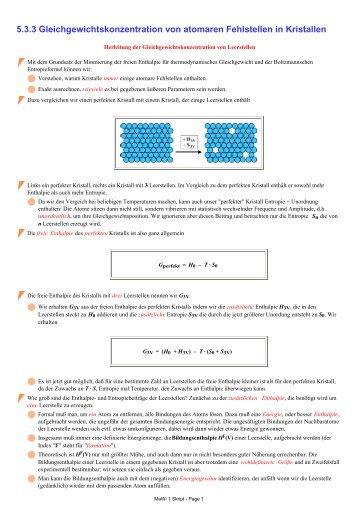 5.3.3 Gleichgewichtskonzentration von atomaren Fehlstellen in ...