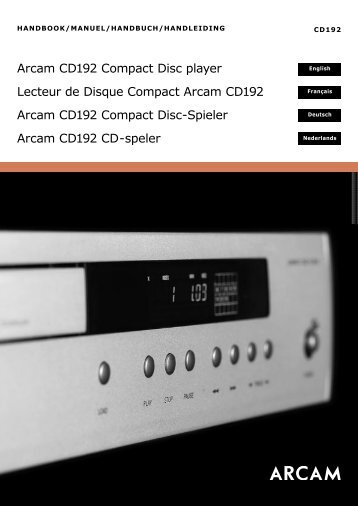 Arcam CD192 Compact Disc player Lecteur de Disque ... - Studio 22
