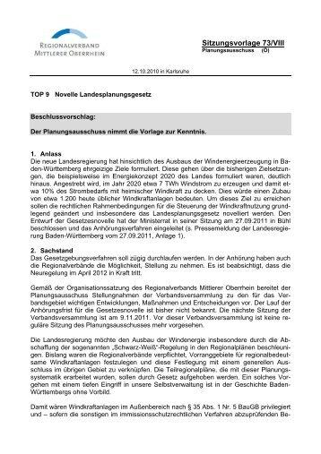 Vorlage Nr. 73/VIII an den PA - Regionalverband Mittlerer Oberrhein