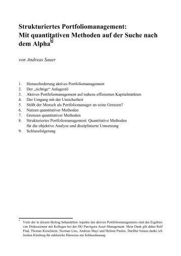 Mit quantitativen Methoden auf der Suche nach dem ... - Quoniam.de