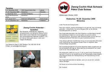 2009 Oktober Mitteilungen - Zwerg-Cochin Klub Schweiz