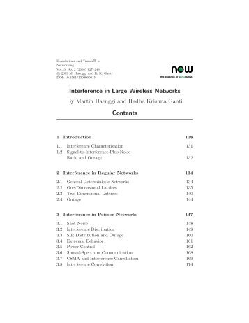 Interference in Large Wireless Networks - Wireless Networking and ...