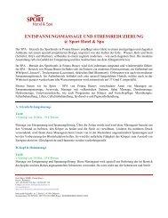 ENTSPANNUNGSMASSAGE UND ... - ANA Hotels