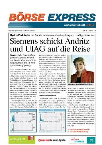 Siemens schickt Andritz und UIAG auf die Reise - Hirsch Gruppe