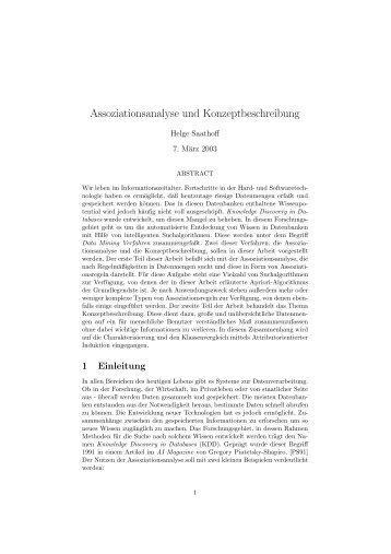 Assoziationsanalyse und Konzeptbeschreibung - Diko-project.de