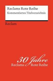 Reclams Rote Reihe | Kommentiertes Titelverzeichnis