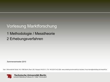 Vorlesung Marktforschung - TU Berlin
