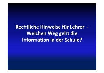 Rechtliche Hinweise für Lehrer - Staatliche Schulberatung in Bayern