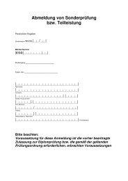 Abmeldung von Sonderprüfung bzw. Teilleistung