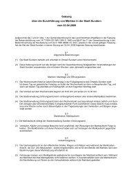 Satzung über die Durchführung von Märkten in der Stadt Sundern ...