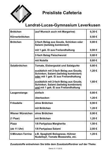 Preisliste Cafeteria - Landrat-Lucas Gymnasium