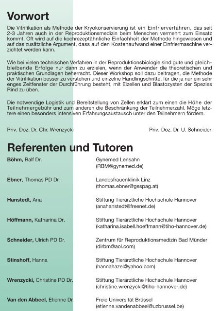 Gynemed Symposium 2008: Vitrifikation: Hands on Workshop mit ...