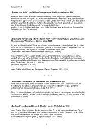 Kritiken zu diversen Inszenierungen aus den Jahren ... - Jean Grädel