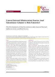 Lateral internal sfinkterotomi sonrası anal inkontinans gelişimi ve ...