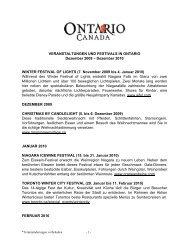 MAJOR EVENTS IN ONTARIO, 2005-2006