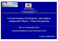 La Gouvernance d'entreprise : une analyse comparative Maroc ...