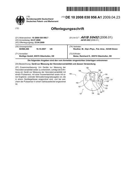 Gerät zur Messung der Herzratenvariabilität und dessen ... - Patente