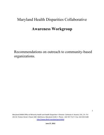 Awareness Workgroup - Dhmh - Maryland.gov