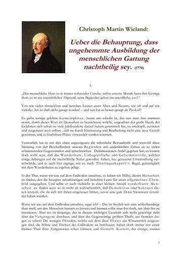 Ueber die Behauptung, dass ungehemmte Ausbildung - Literatur-Live