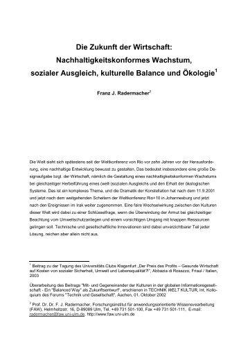 Die Zukunft der Wirtschaft: Nachhaltigkeitskonformes ... - FAW/n