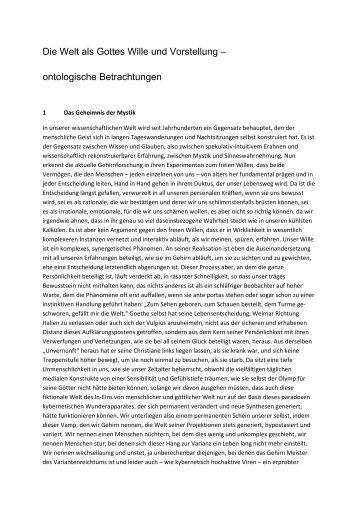 Die Welt als Gottes Wille und Vorstellung ... - Ht-frings.de