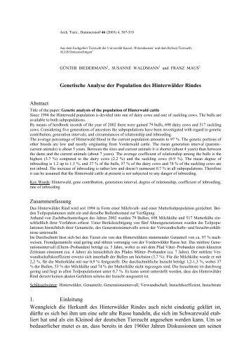 Genetische Analyse der Population des Hinterwälder ... - Arche Austria