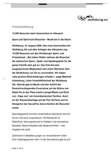 Pressemitteilung - Wolfsburg AG