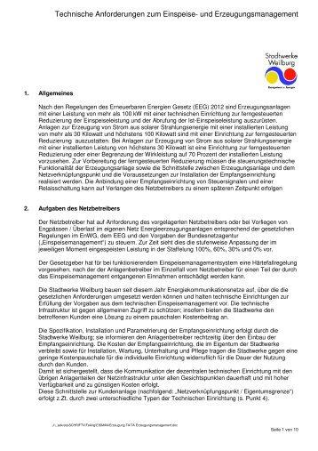 und Erzeugungsmanagement - Stadtwerke Weilburg GmbH