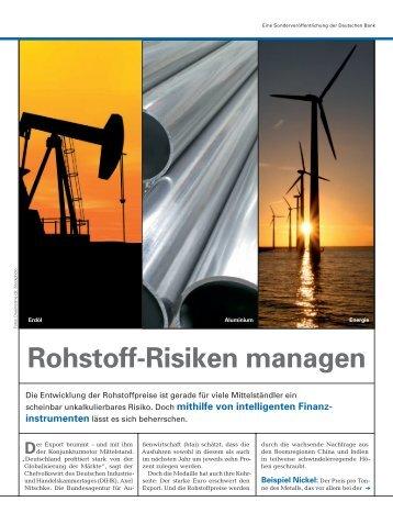 Rohstoff-Risiken managen - Deutsche Bank