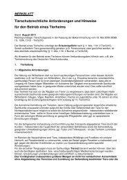 Tierschutzrechtliche Anforderungen und Hinweise für den Betrieb ...