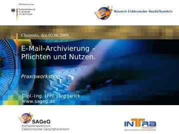 E-Mail-Archivierung Warum? - SAGeG