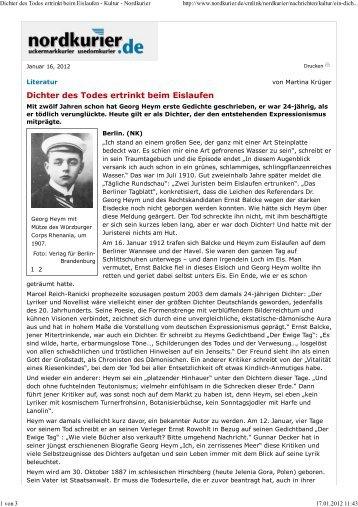 Nordkurier, 16.01.2012. - Verlag für Berlin-Brandenburg