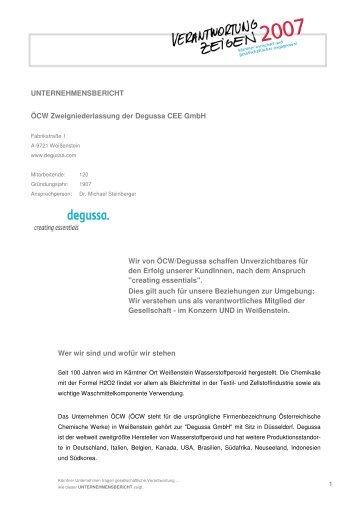 1 UNTERNEHMENSBERICHT ÖCW Zweigniederlassung der ...
