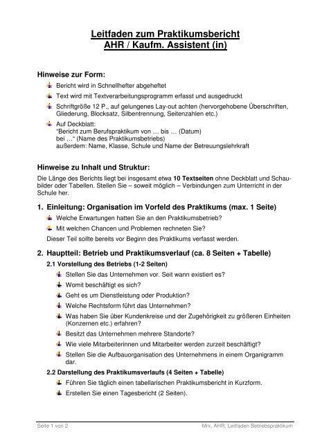 Leitfaden Zum Praktikumsbericht 4 Berufskolleg Leverkusen