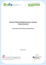 Deutsche Biodiversitätsforschung im Ausland - Übersichtsstudie - VBio