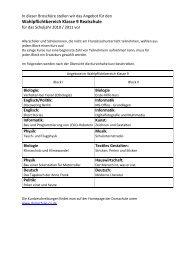 Wahlpflichtbereich Klasse 9 Realschule - Domschule