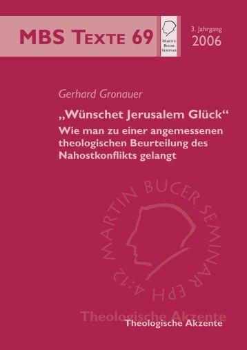 """""""Wünschet Jerusalem Glück!"""" - Martin Bucer Seminar"""