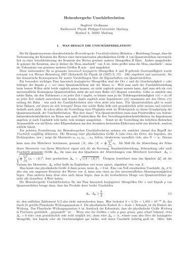 Heisenbergsche Unschärferelation - Welt der Physik