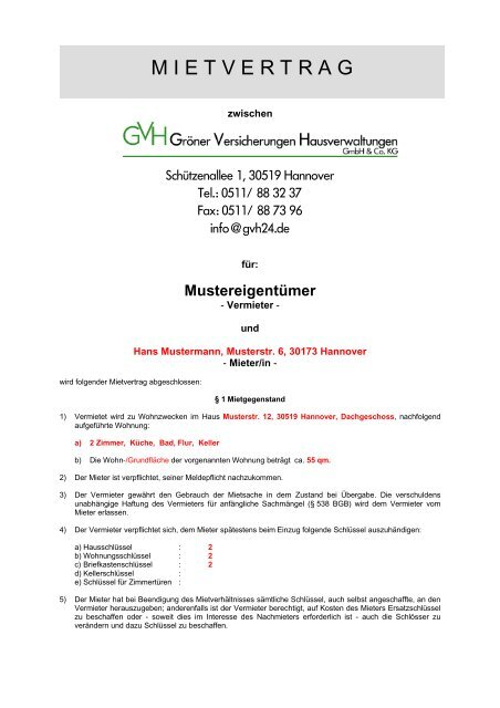 Mietvertrag Muster Pdf 144 Kb