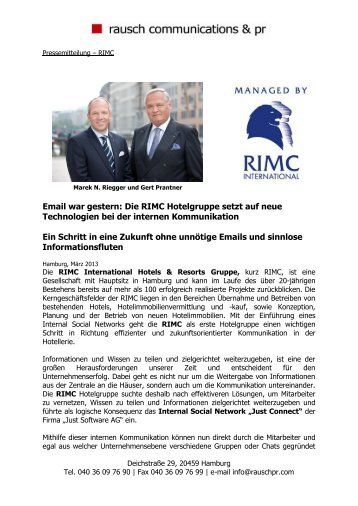 Pressemitteilung – RIMC - RIMC International Hotel Resort ...