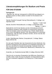 Literaturempfehlungen für Studium und Praxis