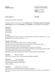 Arztbrief Innere Medizin - Klinikfinder.de