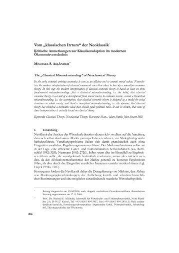 """Vom """"klassischen Irrtum"""" der Neoklassik* - Zeitschrift für Wirtschafts ..."""