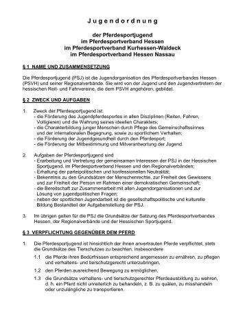 Satzung Pferdesportjugend - Pferdesportverband Hessen