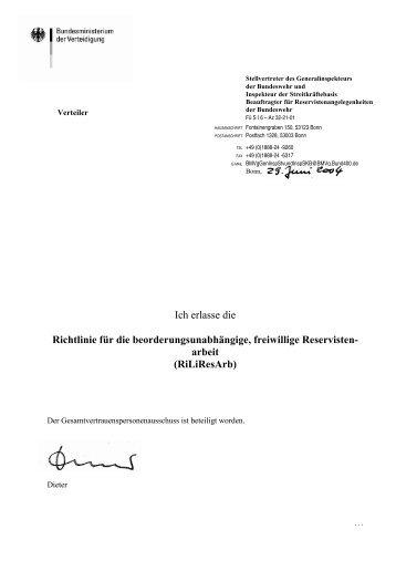 Richtlinie Freiwillige Reservistenarbeit - Reservisten der Bundeswehr