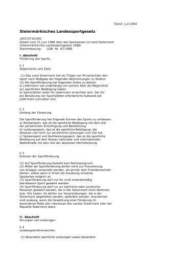 Steiermark (PDF, 23 KB) - Sportministerium