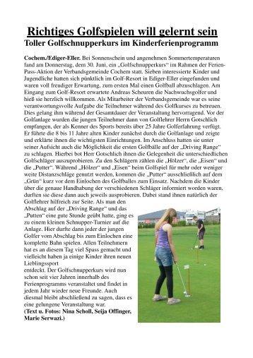 Golfschnupperkurs - Verbandsgemeinde Cochem