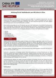 Anleitung zum Schutz geistiger Eigentumsrechte in China für die ...