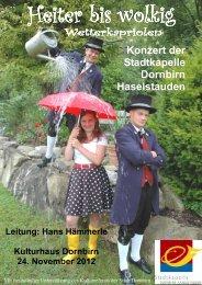 Programmheft Konzert - Stadtkapelle Dornbirn Haselstauden